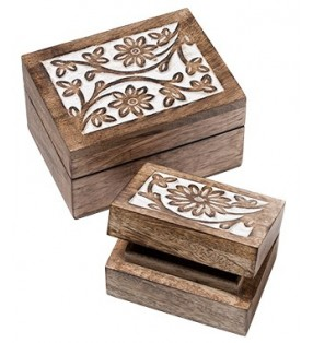 Set Of Two Beautiful Fair Trade Mango Wood Daisy Design Carved Wooden Boxes