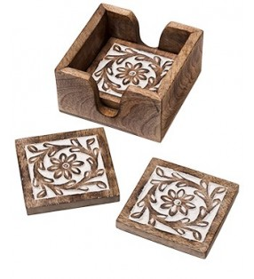 Beautiful Fair Trade Mango Wood Daisy Design Coaster Set