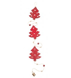 Pretty String Of Fair Trade Wooden Hand Painted Christmas Trees