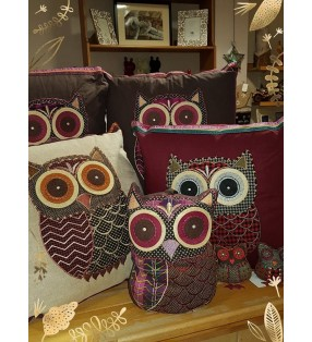 Fair Trade Tweed applique owl cushion