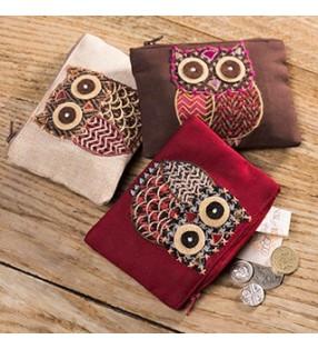 Fair Trade Tweed Applique Owl Coin Purse