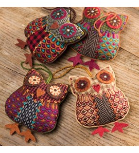 Fair Trade Tweed Owl Hanging Decoration