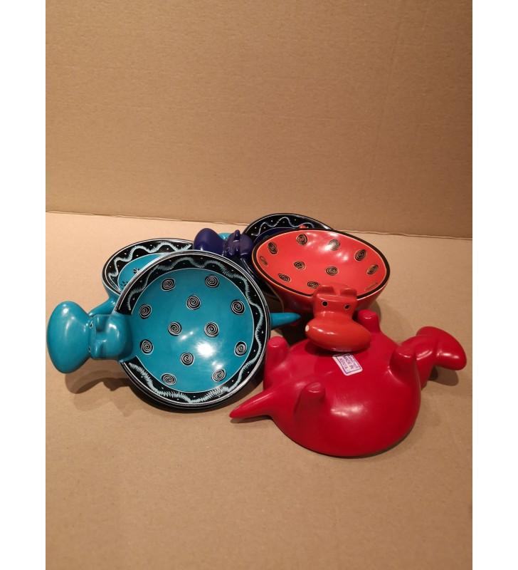 Tabaka Chigware Hand Carved Painted Kissi Soapstone Hand Dyed Hippopotamus Dish