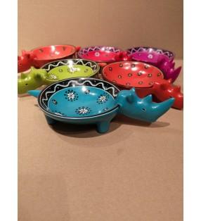 Tabaka Chigware Hand Carved Painted Kisii Soapstone Hand Dyed Rhinoceros Dish