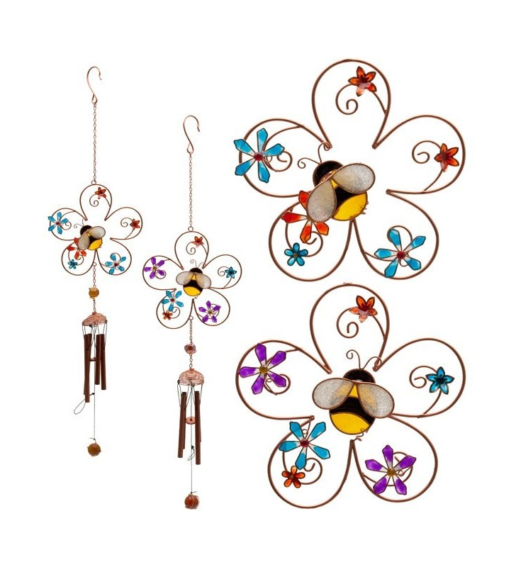 Ethically Sourced Metal Resin Glass Bee and Floral Wind Chime