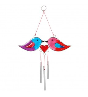Ethically Sourced Love Birds and Heart Suncatcher Wind Chime