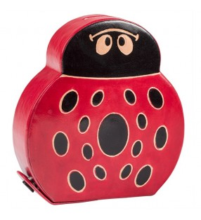 Fair Trade Printed Leather Ladybird Money Box Bank