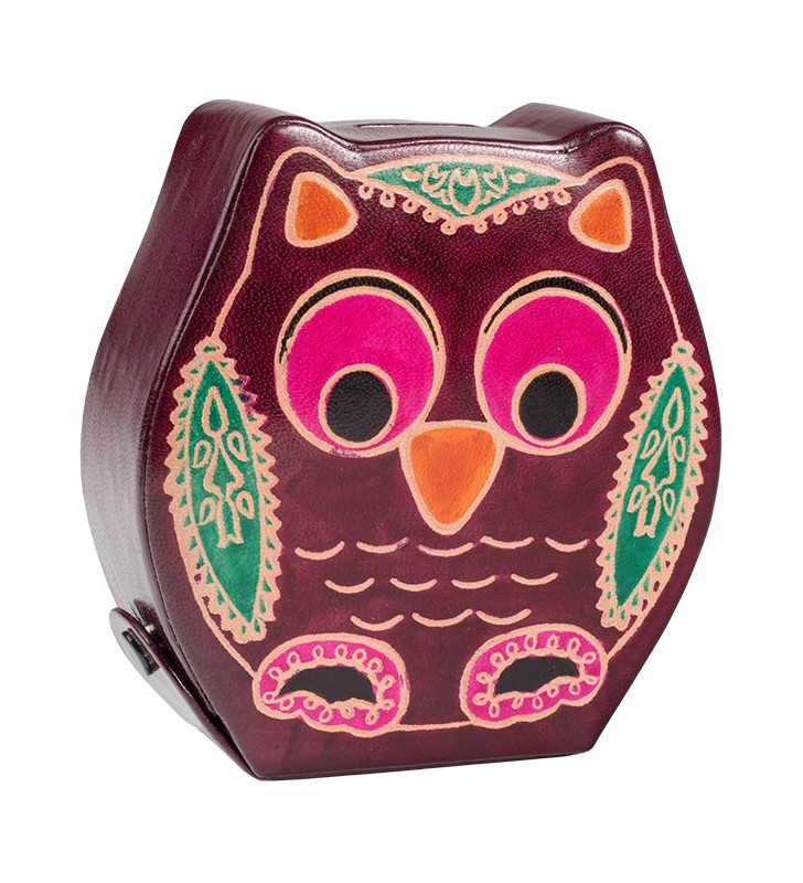 Fair Trade Printed Leather Owl Money Box Bank