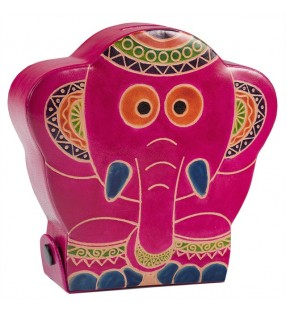 Fair Trade Printed Leather Elephant Money Box Bank
