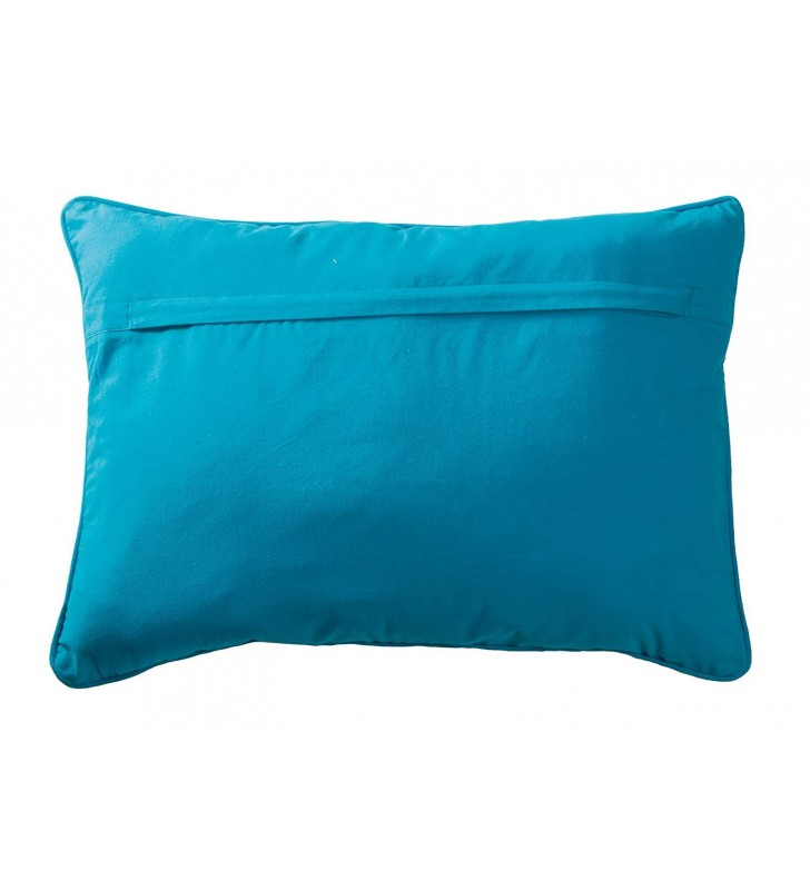 Fair Trade Owl Embroidered Cushion Cover Turquoise
