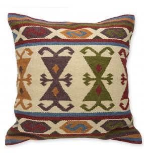 Fair Trade Multi Colour Indian Hand Loom Jharkhand Kilim Cushion Cover