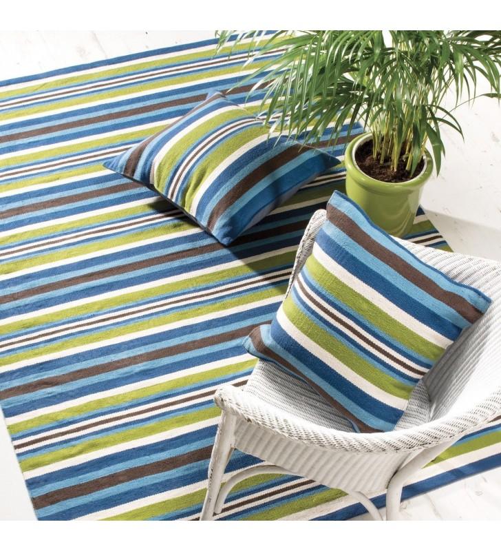 Fair Trade Blue Multi Stripe Handloom Cushion Cover