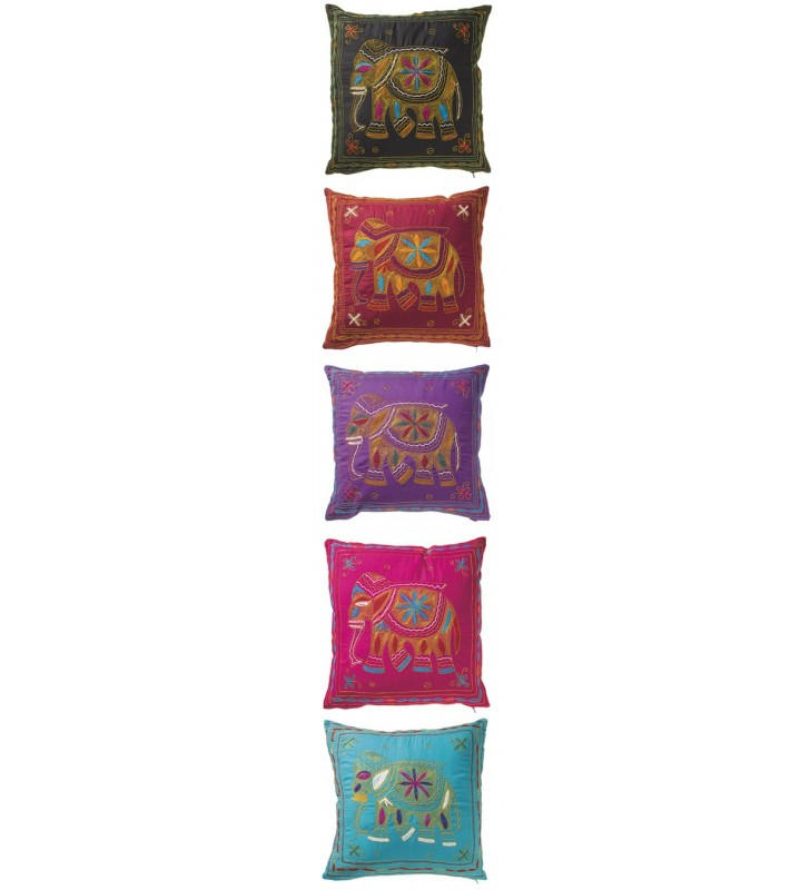 Beautiful Fair Trade Hand Embroidered Elephant Cushion Cover