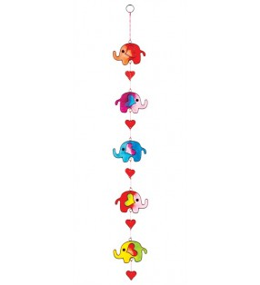 Fair Trade Multi Colour Five String Resin Elephant and Hearts Sun Catcher.