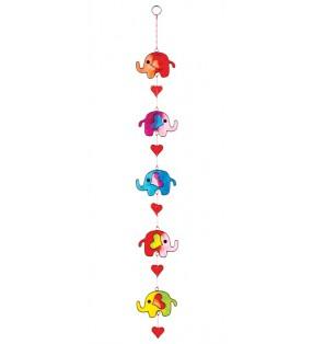 Fair Trade Multi Colour Five String Resin Elephant and Hearts Sun Catcher.