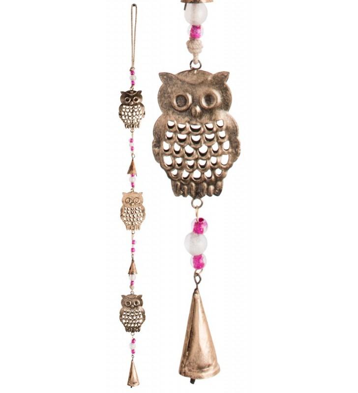 Beautiful Fair Trade Three String Metal Hanging Owl Mobile Chime