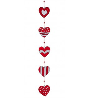 Fair Trade Red and White Acrylic Five String Hearts Suncatcher