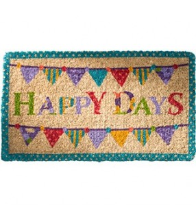 "Colourful Fair Trade ""Happy Days"" Coconut Fibre Coir doormat"