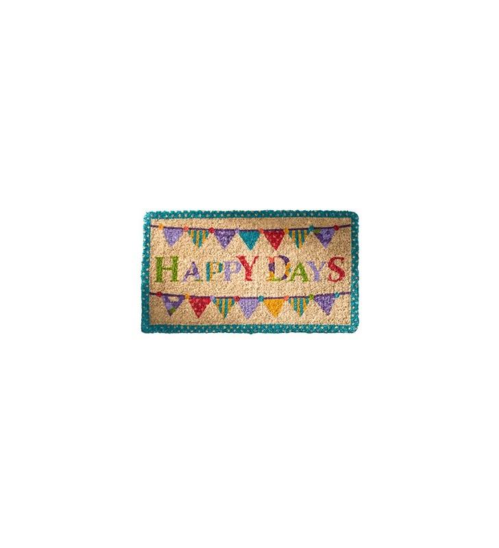 """Colourful Fair Trade """"Happy Days"""" Coconut Fibre Coir doormat"""