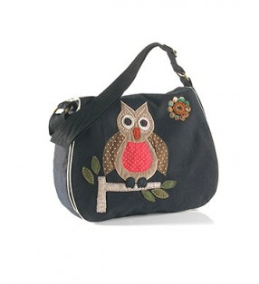 Fair Trade Black Canvas Satchel Style Owl Design Bag