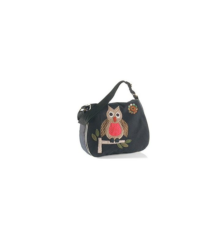 Fair Trade Black Canvas Satchel Style Owl Design Bag