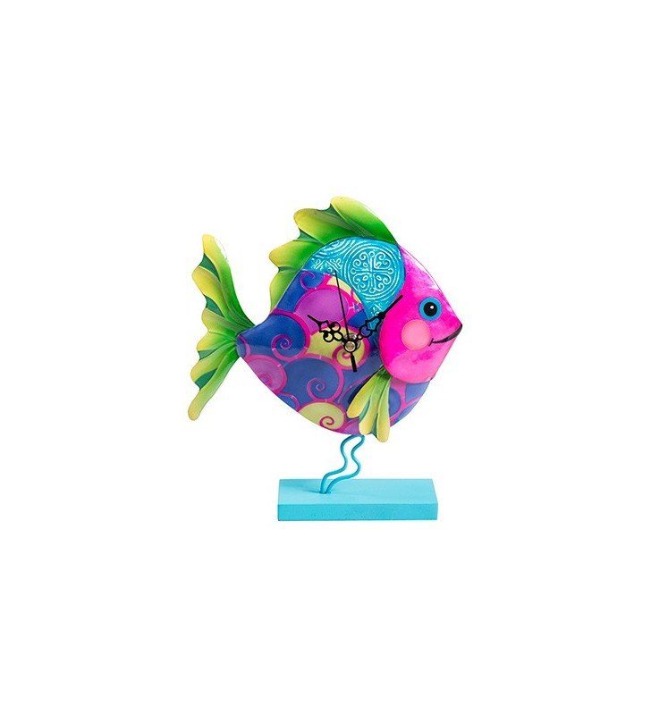 Colourful Funky Metal Fair Trade Fish Clock on Stand