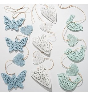 Lovely Fair Trade Five String Metal Hanging Heart, Butterfly or Bird Mobile