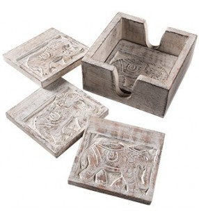 Beautiful Fair Trade Mango Wood Whitewash Raj Elephants Coaster Set In Tray