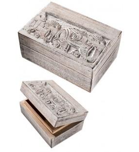 Beautiful Fair Trade Mango Wood Whitewash Raj Elephants Trinket Jewellery Box