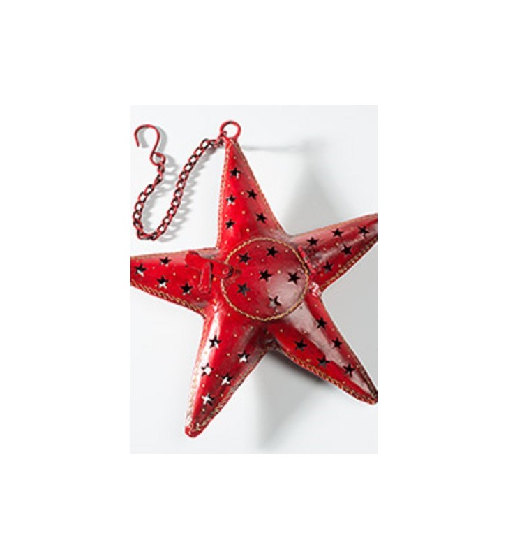 Large Fair Trade Red Metal Hanging Star Tealight Holder