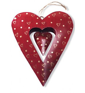 Large Fair Trade Red Metal Double Hanging Heart Decoration
