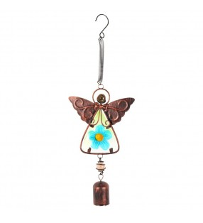 Lovely Brightly Coloured Ethically Sourced Copper and Glass Angel Windchime