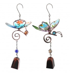 Lovely Brightly Coloured Ethically Sourced Copper and Glass Butterfly Windchime