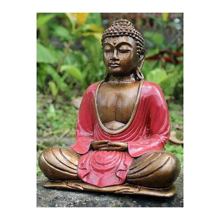 Hand Painted Red Resin Meditating Thai Buddha Statue. 30Cm