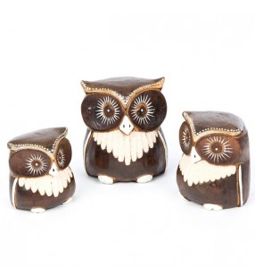 Set of Three Fair Trade Wooden Brown Owls