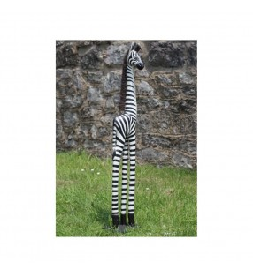 Set Of Three Black and White Wooden Zebra Statues.