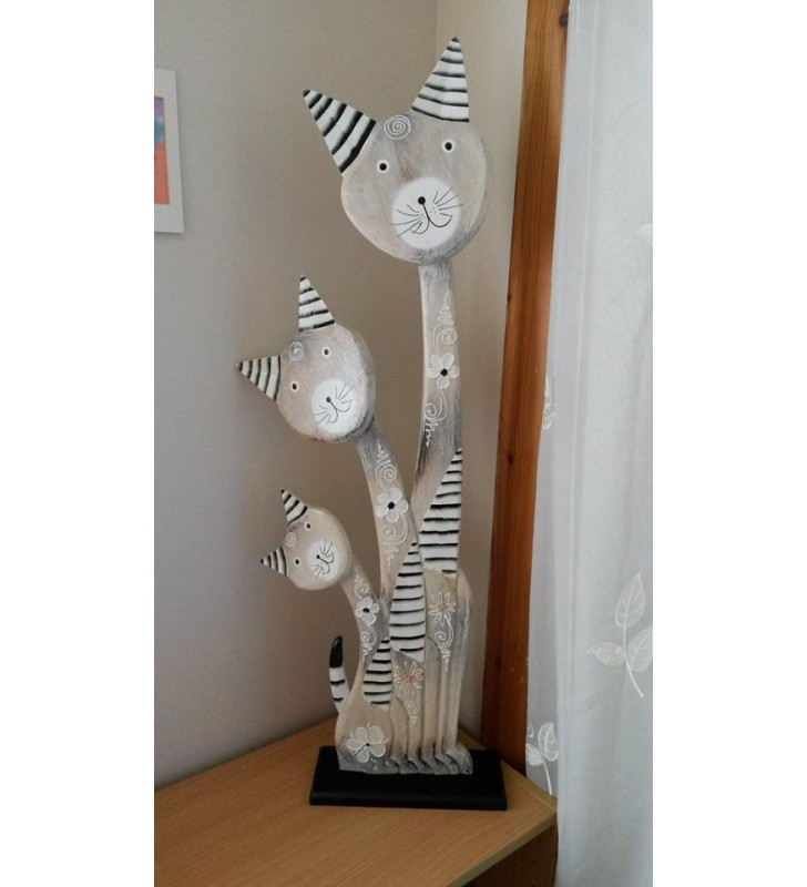 Wooden Painted Cats and Kittens Statue 80 cm