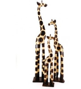 Natural Wooden Hand Carved Giraffe.