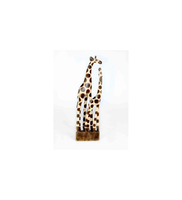 Natural Wooden Hand Carved Mother and Baby Giraffe 100cm.