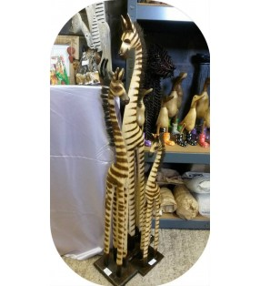 Tall Natural Wooden Fair Trade Hand Carved Zebra Statue.