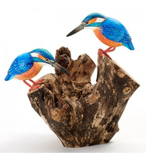 Fair Trade Wooden Hand Carved Double Painted Kingfisher Sculpture