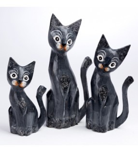 Set Of Three Fair Trade Wooden Hand Carved Charcoal Grey Cats
