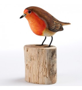 fair trade wooden hand carved robin redbreast sculpture