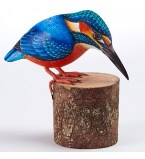 fair trade wooden hand carved single kingfisher sculpture