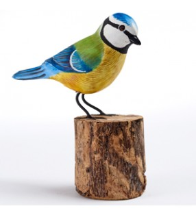 fair trade wooden hand carved blue tit sculpture