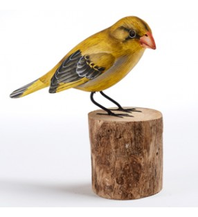 fair trade wooden hand carved greenfinch sculpture