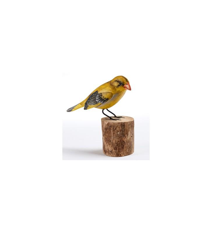 fair trade wooden hand carved greenfinch sculpture