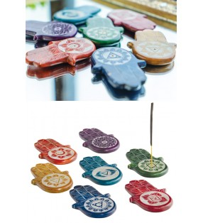 Fair Trade Coloured Soapstone Chakra Hamsa Incense Holder
