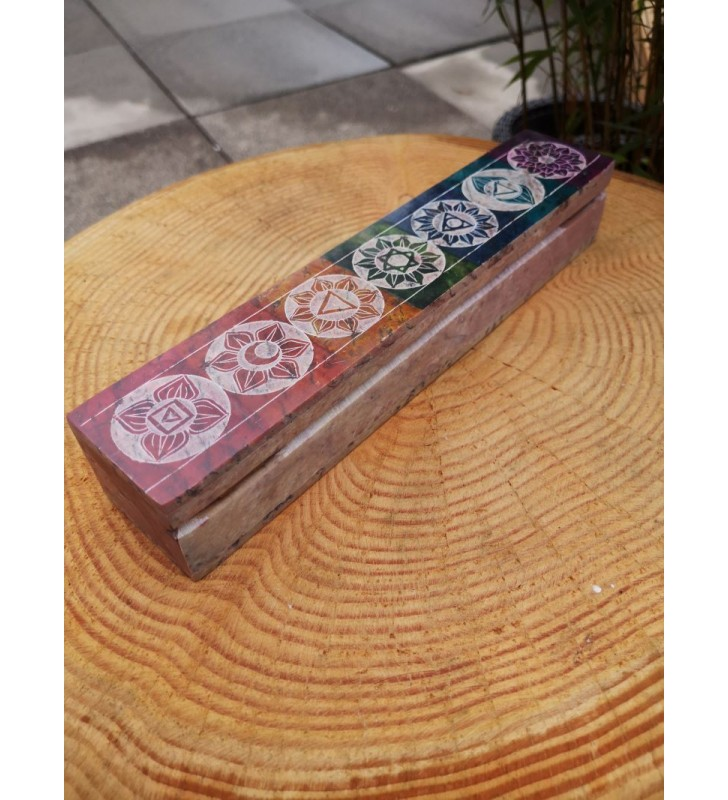 Fair Trade Multi Colour Soapstone Chakra Incense Box