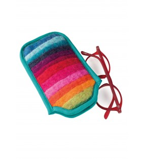 Fair Trade Rainbow Felt Glasses Case